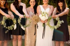 What's black, white and glamorous all over? Why, this wedding of course. Think classic black tie elegance with a generous helping of gold, all in the spectacular outdoor scenery of the Cape W… Bridesmaid Dresses, Wedding Dresses, Black Tie, Gold Wedding, Wedding Planning, Glamour, Wreaths, Weddings, Elegant