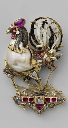 Pendant in the form of a cock, Anonymous, c. 1600 In the 16th century, large, irregularly shaped pearls often served as the point of departure for a jewellery design. In this case, the pearl forms the body of a cock. Its head, tail and feet are made of gold. The jeweller enamelled these parts in various colours and set them with (what are probably) rubies. This cock was certainly part of the Dutch stadtholders' collection from the 18th century.