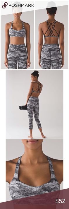 """Lululemon Luxtreme Hazy Days Free to Be Zen Bra Size: 10. Brand new with tags. Color: Luxtreme Hazy Days Black/White. This barely-there bra feels as light as your post-practice spirits. 1/2"""" bra band let's you breathe easy Luxtreme®: Is sweat-wicking, 4-way stretch, and engineered not to shrink LIGHT SUPPORT: provides light support for an A/B cup LYCRA®: Lycra® fibre for stretch and shape retention Contoured front seams hug the body & provide shape. Open, strappy back gives you full range…"""