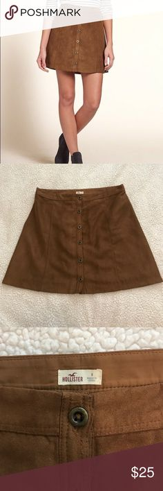 brown suede skirt cute mini suede skirt Hollister Skirts Mini