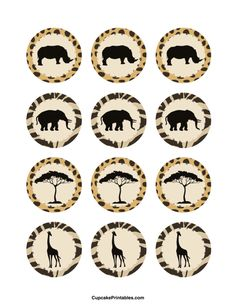 Safari cupcake toppers. Use the circles for cupcakes, party favor tags, and more. Free printable PDF download