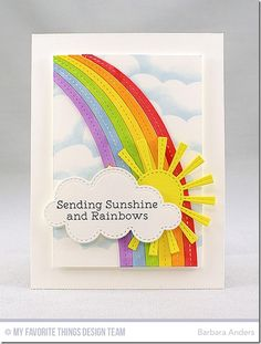 card weather cloud clouds sun, Sending sunshine and rainbows, Rainbow greetings, MFT End of the rainbow Die-namics MFT cloud stencil background Rainbow Card, Rainbow Colors, Cloud Stencil, Mft Stamps, Get Well Cards, Creative Cards, Creative Ideas, Kids Cards, Greeting Cards Handmade