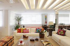 Rasgo no gesso para iluminação com fita de led ou lâmpada fluorescente. Veja como usar na decoração da sua casa, com desenho de onde fica a lâmpada.