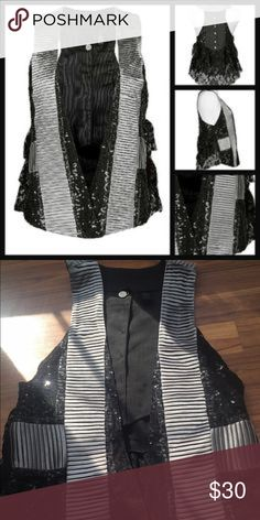 Buckle gray black lace sequin beaded vest top Free people anthropology gray black silver sequined beaded top vest silk lace bottons Buckle Tops Blouses
