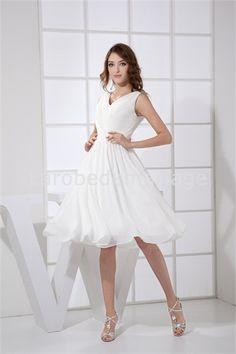 Robe de mariée courte simple en mousseline de soie V col   € 83.99