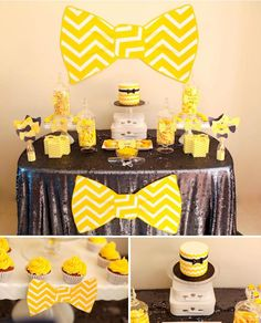 Bow tie themed birthday party full of ideas! Perfect for a baby shower or other celebration, too! Yellow Birthday Parties, First Birthday Parties, First Birthdays, Birthday Ideas, Baby Shower Themes, Baby Boy Shower, Shower Ideas, Wiggles Party, Bow Tie Party