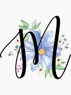 'Monogram M Beautiful Watercolor Blue Flower' Sticker by floralmonogram Monogram Wallpaper, Monogram Wall Art, Monogram Painting, Alphabet Wallpaper, Graphic Wallpaper, Cute Wallpaper Backgrounds, Wallpaper Iphone Cute, Cute Wallpapers, Monogram Letters