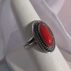 Vintage Coral Native American Sterling Silver Ring by mjosdesign