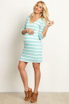 f5a4598118ae Mint Striped 3 4 Sleeve Maternity Dress