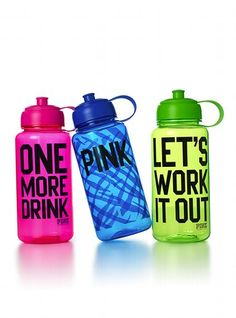 """Sports Gifts for Friends - Fitness Products and Gifts - Seventeen- Ever find yourself needing a whole lot of motivation when your working out? Keeps you healthy( """"One More Drink"""") and motivated ( """"Let's Work Out"""") ! Pink Water Bottle, Cute Water Bottles, Fitbit, Accesorios Casual, Pink Nation, Smart Girls, Perfume, Sports Gifts, Everything Pink"""
