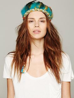 Ettika Feather Headdress at Free People Clothing Boutique. Because this is $172 I'm making my own.