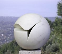 Marble Abstract Contemporary or Modern Outdoor Outside Exterior Garden / Yard Sculptures Statues statuary sculpture by artist Neil Ferber titled: 'TWO PIECE SPHERE (Modern Contemporary Round Ball statue)'