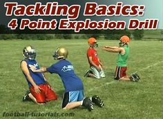 Tackling Basics: The 4 Point Explosion Drill – Football Tutorials – American Football Football Drills For Kids, Football Coaching Drills, Tackle Football, Football Workouts, Football Stuff, Football Conditioning Drills, Football Parties, Football Quotes, Sergio Ramos