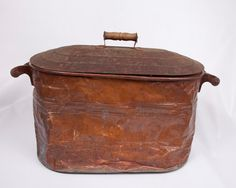Copper Wash Tub with Cover Wash Bin Wood by LeVintageGalleria, $60.00