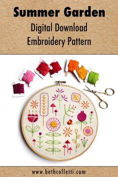 Retro Modern Garden Embroidery Pattern #embroiderypattern