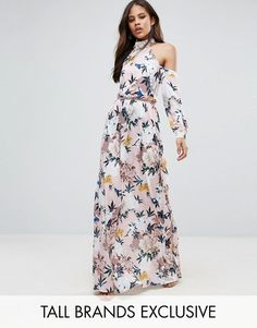 TTYA High Neck Cold Shoulder Maxi Dress With Pleated Waist Detail In Large Scale Floral Print