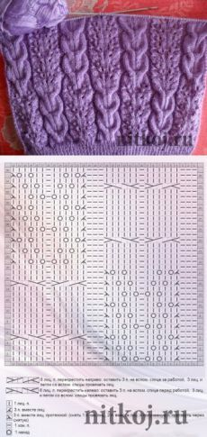 Ажурный узор с косами » Ниткой - вязаные вещи для вашего дома, вязание крючком, вязание спицами, схемы вязания