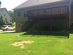 Existing backyard. Need to do SOMETHING with this deck area!  #PinMyDreamBackyard