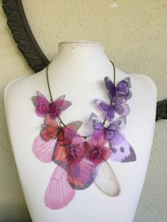 Handmade Butterfly Necklace, Pink Fucsia Lilac and Orange Silk Organza Fabric Butterflies Moths and Wings Necklace, Statement Necklace by TheButterfliesShop on Etsy