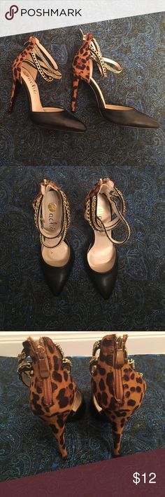 Cheetah print high heels In good condition, light signs of wear, small chain is disconnected as pictured which can easily be fixed Shoes Heels