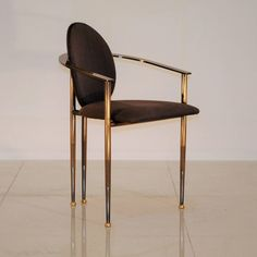 Steel and brass dining chair by Belgo Chrom/Dewulf Selection, Belgium 1980s