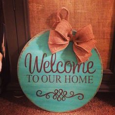 perfect colors will have to make this at Livin' the Glamorous Life Pallet Crafts, Wooden Crafts, Wood Slice Crafts, Painted Signs, Wooden Signs, Crafts To Make, Diy Crafts, Hanger Crafts, Burlap Door Hangers