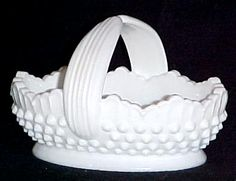 Fenton Milk White Glass Hobnail Basket