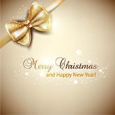 Free Vector Merry Christmas and Happy new year Elegant background with Golden ribbon bow Illustration