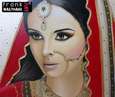 Gorgeous Indian Bride painting 'Stay Amazed'. Discover original and exclusive Asian Bridal Portrait Art paintings by portrait artist Frank Wagtmans!