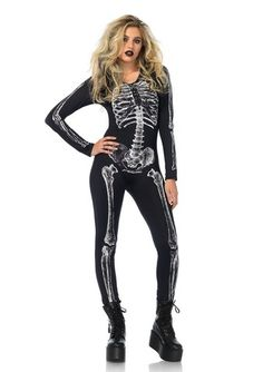 Leg Avenue Women's X-Ray Skeleton Catsuit Costume Great skeleton artwork and comfy cat suit make this the perfect base for a DIY costume Perfect classic Halloween costume and great for groups Skeleton Halloween Costume, Classic Halloween Costumes, Halloween 2017, Halloween Makeup, Skeleton Bodysuit, Black Catsuit, Bodysuit Costume, Sexy Costumes For Women, Leg Avenue