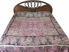 JAMAWAR PASHMINA BEDSPREAD BED COVER PURPLE BLACK WARM BLANKET SOFA THROW