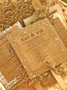 Wedding program/fan with twine flower. Easy to make!