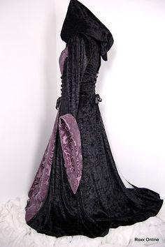 Purple damask taffeta & black velvet gothic hooded dress. Creepy awesomeness.