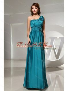 Handle-Made Flowers Elastic Woven Satin One Shoulder Empire Teal Floor-length Formal Prom Dress- $ 138.16  www.fashionos.com  zipper up back prom dress | floor length prom dress | sleeveless prom dress | empire prom dress | one shoulder prom dress | where to get prom dress | prom dress around 150 | winter collection | special occasion dresses |