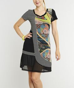 Love this Black & White Stripe Floral Cap-Sleeve Dress by Miss Nikky on #zulily! #zulilyfinds