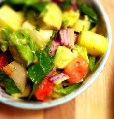 A Simply Raw Life: TROPICAL CHOPPED SALAD WITH PINAPPLES AND AVOCADOS Raw Food Recipes, Healthy Recipes, Chopped Salad, Celery, Healthy Foods, Dips, Pineapple, Salads, Avocado