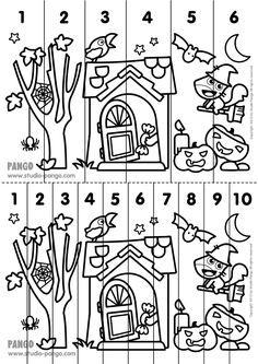 Halloween ! Printable number sequence puzzle. #halloween #number sequence puzzle #jigsaw #puzzle