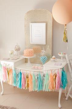 Pastel Ice Cream Social via Kara's Party Ideas | Cake, decor, cupcakes, games and more! KarasPartyIdeas.com #icecreamsocial #iceceamparty #n...