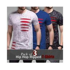 ae4d8f660ea Buy the brand new Pack of 3 Hip Hop Ripped T-Shirts for Men at
