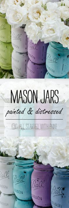 Mason Jars Painted & Distressed - Spring Colors, Decor