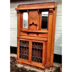 Antique Oak Leaded Glass Cabinet Fireplace Mantle
