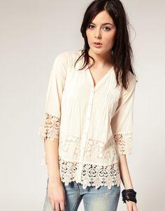 River Island Button Front Lace Trim Shirt £29.99