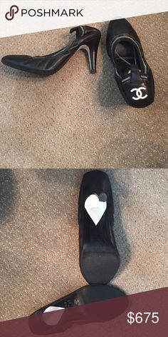 Spotted while shopping on Poshmark: CHANEL Black and creme white CC leather heels 38 8! #poshmark #fashion #shopping #style #CHANEL #Shoes