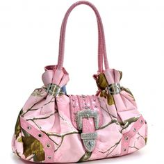 Realtree ® Camouflage Shoulder Bag with Rhinestone Buckle Accent - Camo&Light Pink Only Sold 42.99 - fashlets.com