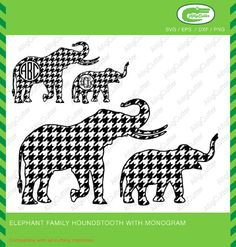Elephant Family Houndstooth Pattern With Monogram by Alligcutter