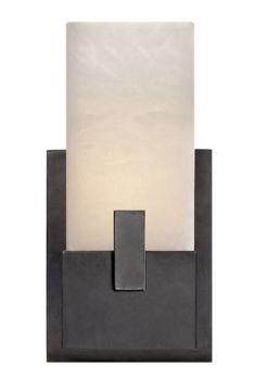 KELLY WEARSTLER | COVET SHORT CLIP BATH SCONCE. Alabaster stone set in Antique Burnished Brass, Polished Nickel or Aged Iron