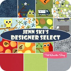 Soooo adorable!  Jenn Ski's Designer Select Fat Quarter Bundle  Ten Little Things Collection   A Fat Quarter Shop Exclusive!  Jenn Ski has specially selected 12 prints from her Ten Little Things collection along with 3 coordinating Bella Solids for this special bundle.  $45