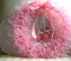 Tulle and tutu wreath for ballerina party (or just little girl's room?)