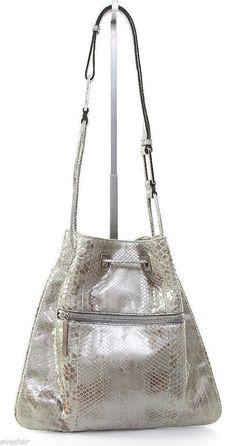 GUCCI Bag Tote Black Leather Silver Snakeskin Drawstring Shoulder Handbag   Gucci  ToteShoulderBag Drawing Bag b9d435effe533