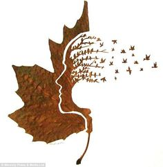 """Omid Asadi leaf art, created with a scalpel, magnifying glass, and a needle. This is entitled """"Leave's Mind."""" Artist's site: http://omidasadi.artweb.com/www.leafcuttingart.com"""